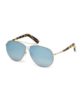 Eva Lighweight Aviator Sunglasses, Rose Gold/Blue Sky