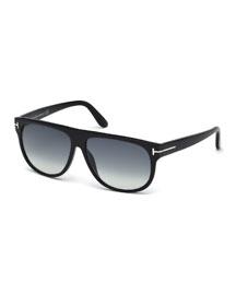 T-Temple Flat-Top Sunglasses, Black