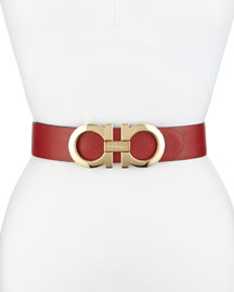 4.5cm Reversible Double-Gancini Belt, Red/Black