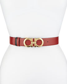 3.5cm Reversible Double Gancini Belt, Red/Black