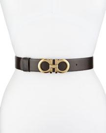 3.5cm Reversible Leather Gancini Belt, Brown/Black
