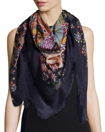 Zoo-Print Voile Scarf, Navy