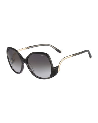 Emilia Drop-Temple Sunglasses, Black