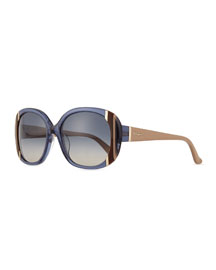 Universal Fit Striped Butterfly Sunglasses, Blue
