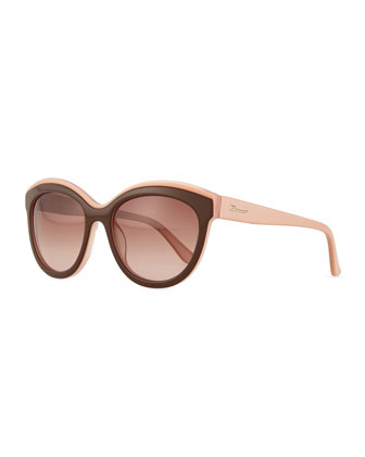 Universal Fit Two-Tone Cat-Eye Sunglasses, Brown/Pink