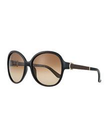 Leather-Temple Universal-Fit Sunglasses, Black