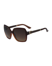Square Embossed-Arm Sunglasses, Brown