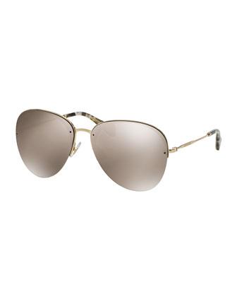 Oversized Metal Aviator Sunglasses, Golden