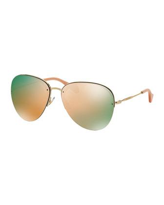 Oversized Metal Aviator Sunglasses, Pink/Golden