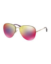 Oversized Metal Aviator Sunglasses, Red