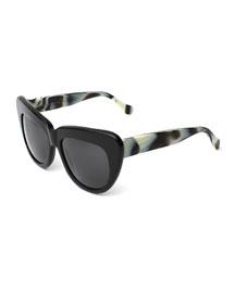 Brigitte Cat-Eye Sunglasses, Black/Horn