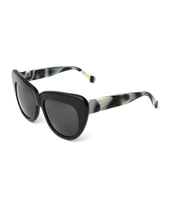 Brigitte Cat-Eye Sunglasses, Black/Horn