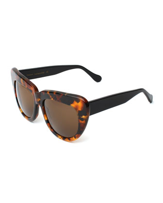 Brigitte Cat-Eye Sunglasses, Tortoise/Black