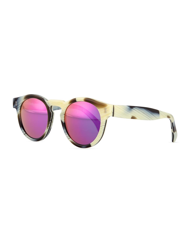 Illesteva Leonard Round Horn-Pattern Sunglasses with Mirror Lens, Brown/Cream (Brown/Ivory)