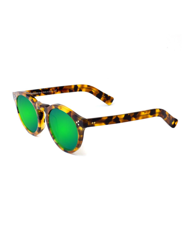 Illesteva Leonard II Mirror Sunglasses, (Green/Green) Green/Brown/Black (Tortoise/Green)