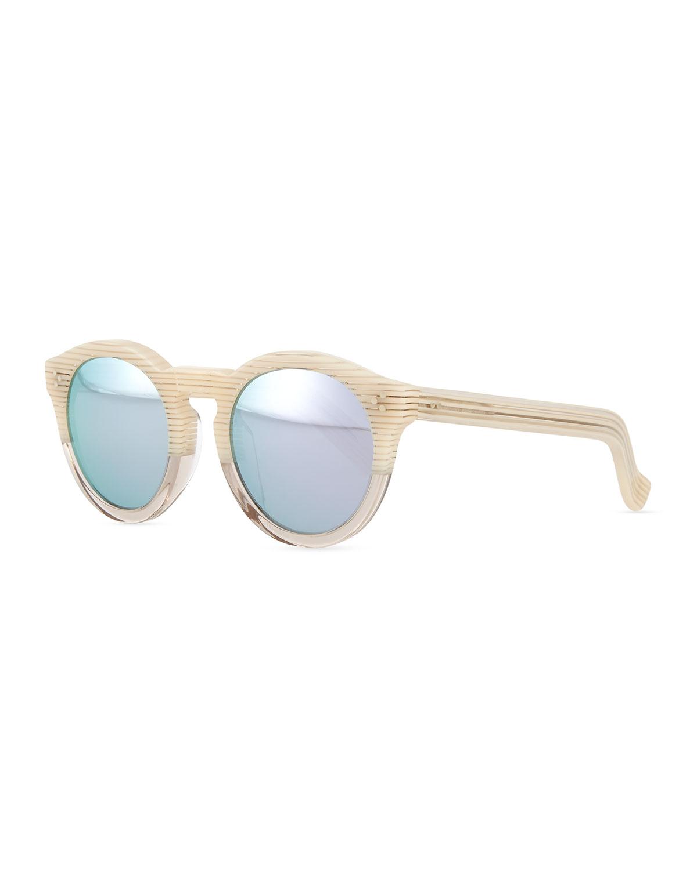 Illesteva Leonard II Round Bicolor Sunglasses, Cream/Clear (Ivory/Clear)