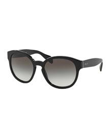 Conceptual Round Sunglasses, Black