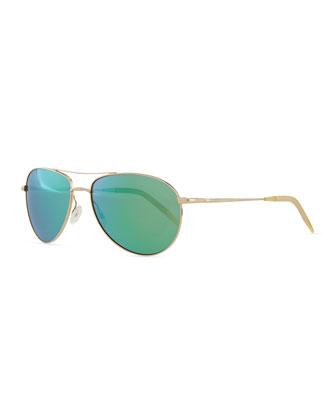 Benedict 59 Mirrored Aviator Sunglasses, Gold/Green