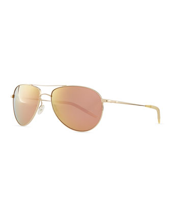 Benedict 59 Mirrored Aviator Sunglasses, Gold/Lilac