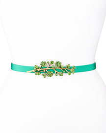 Crystal Faille Skinny Belt