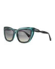 Horn-Effect Twisted Cat-Eye Sunglasses