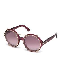 Juliet Round Sunglasses w/Clip-On Shades, Pink