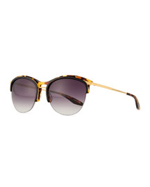 Universal Fit Seraphina Half-Rim Mirrored Sunglasses