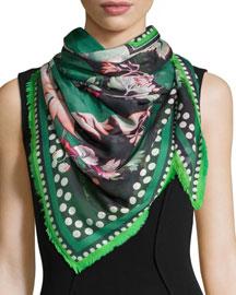 Chambord-Print Pashmina Scarf, Green/Black