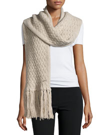 Cable-Knit Fringe Scarf
