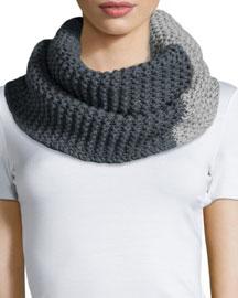 Bicolor Knit Snood, Pearl/Gray