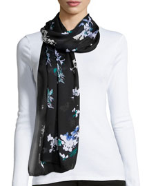 Floral-Print Silk Scarf, Green/Black