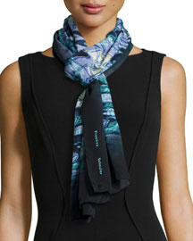 Warped Plaid-Print Scarf, Blue/Purple