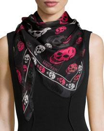 Tricolor Skull-Print Scarf, Black/Pink/White