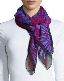 Daisies Classic Chiffon Square Scarf, Lilac/Red