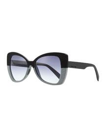 Bicolor Velvet Effect Butterfly Sunglasses