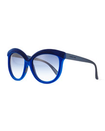 Velvet-Texture Enhanced-Brow Sunglasses, Dual Blue