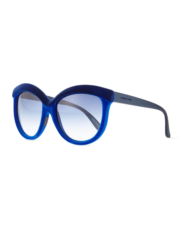 Italia Independent Velvet-Texture Enhanced-Brow Sunglasses, Dual Blue