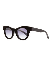 Velvet-Texture Cat-Eye Sunglasses, Black