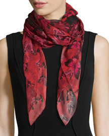 Butterfly Flight Square Scarf, Bordeaux/Pink