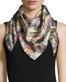 Camu Butterfly-Print Scarf, Multicolor