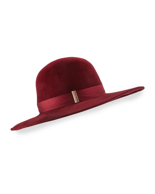 Gigi Burris Kyleigh Hand-Blocked Wide-Brim Hat, Size: M, Purple (Chocolate)