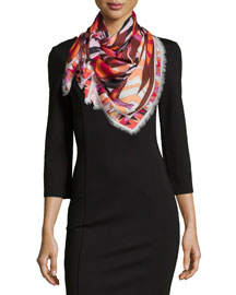 Gazelle Printed Woven Scarf, Red