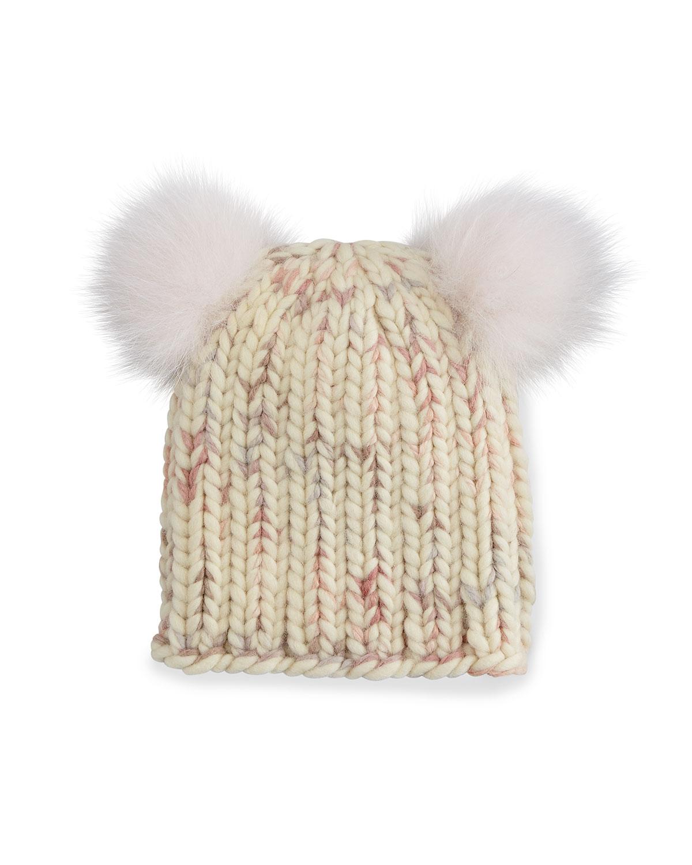 Eugenia Kim Mimi Knit Hat with Fur Pom Poms, Cream/Pink (Ivory/Pink)