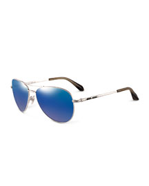 Silvertone Aviator Sunglasses w/Black Onyx (Made to Order)