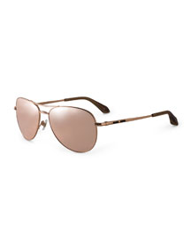 Plated 18k-Lens Sunglasses w/Black Onyx, Rose Gold (Made to Order)