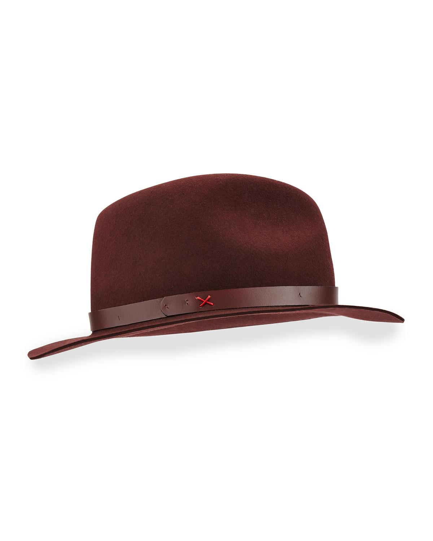 Rag & Bone Abbott Leather-Band Felt Fedora, Size: M, Red