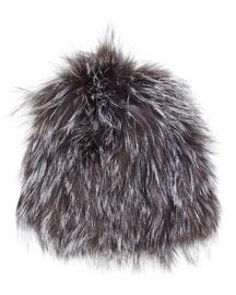 Knit Fox Fur Beanie Hat, Natural