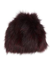 Knit Fox Fur Beanie Hat, Merlot