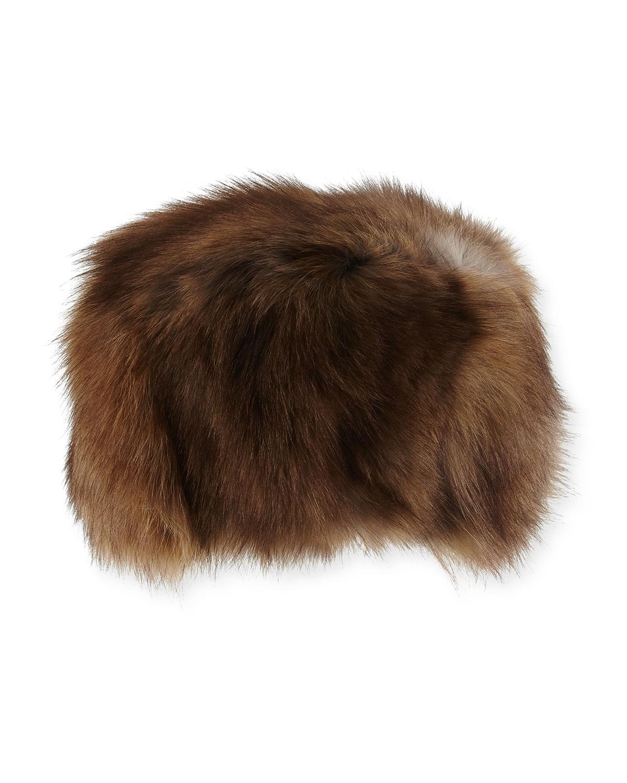 Adrienne Landau Fox Fur Hat, Brown