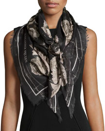 Creased Roses Printed Scarf, Black/Ivory